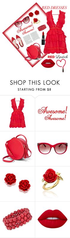 """Red Dresses Red Lipstick"" by foxxyslang ❤ liked on Polyvore featuring Thierry Lasry, Disney Couture, Ross-Simons, Lime Crime and Smashbox"