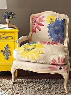 I love the chair! used stencils and acrylic paint mixed with textile medium to update bergere chair.i love the bureau. not ethe color combo. Painted Chairs, Hand Painted Furniture, Funky Furniture, Upholstered Furniture, Furniture Makeover, Furniture Decor, Painted Tables, Decoupage Furniture, Painting Fabric Furniture