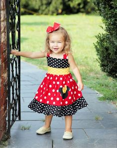 Custom Boutique Clothing Minnie Mouse Med Red Yellow  by amacim