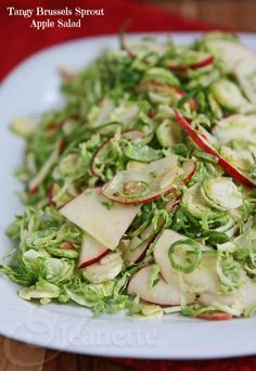 Tangy Brussels Sprout Apple Salad - easy and fresh, a healthy, light side dish that's perfect for the holidays
