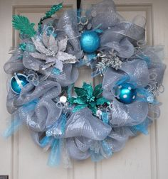 Silver, Blue, and Teal Christmas Mesh Wreath