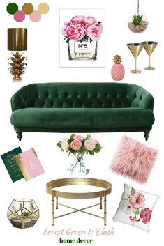 Everything it's gonna be beautiful if you choose forest green and blush pink. Mi… Everything it's gonna be beautiful if you choose forest green and blush pink. Minimal and cozy this interior style can make your house to stand out. The modern vibe from the Blush Pink Living Room, Living Room Green, Green Rooms, Pink Room, Living Room Colors, Living Room Designs, Living Room Decor Gold, Pink Living Rooms, Living Spaces