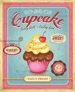 Cupcake poster design in retro style