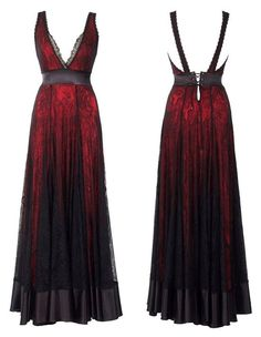 Micheal Negrin Halter top long blood red and black lace dress..