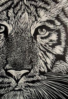 Rowanne Anderson - White Tiger Linocut