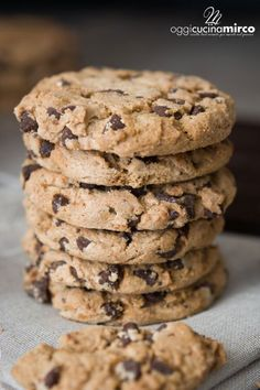Cookies with chocolate drops (with Bimby and without - dolci - Biscotti Biscotti Cookies, Biscotti Recipe, Yummy Cookies, Cookies Light, American Cookie, Pumpkin Cookies, Macaron, Sweet Cakes, Chocolate Chip Cookies