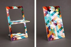 klappstuhl flapps criss cross colorful geometric folding chair