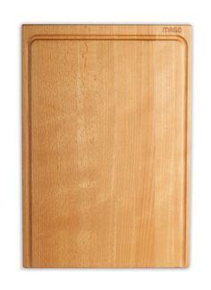 """MAIGO-Schneidebrett """"Thomas"""" aus Holz und mit der typischen offenen Saftrille."""