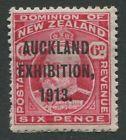 AUCKLAND EXHIBITION 1913 OVERPRINT ON 6d  CARMINE-ROSE KING EDWARD VII - MH