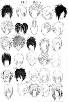 Manga Drawing Techniques hair index. different ways to draw manga/anime hair. Guy Drawing, Manga Drawing, Drawing Tips, Drawing Reference, Drawing Sketches, Art Drawings, Drawing Faces, Hair Styles Drawing, Drawing Ideas