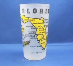 Florida Souvenir Frosted Glass Tumbler Hazel Atlas