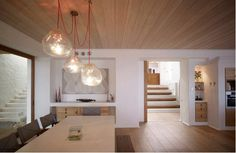 timber ceiling, timber floors for living kitchen lounge