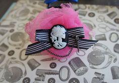 Olivia Paige ROckabilly goth cameo flower bow skeleton