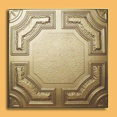 "Caracas Gold (20""x20"" Foam) Ceiling Tile by Antique Ceilings. $3.00. Tin like look from a modern material. Easy to install - with most any Mastic ceramic tile adhesive. Can be painted with most any water or latex based paints. Made from high quality Polystyrene foam. Can be installed right over Pop Corn ceiling. The ceiling tiles and panels are made of uniform extruded polystyrene foam. With this technology, it is possible to obtain smooth and even surface. They..."