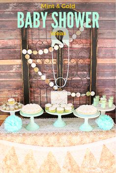 Mint & Gold Baby Shower Ideas - How to Plan a Mint & Gold Baby Shower - Rustic meets modern with a latin infused baby shower by Michelle's Party Plan-It  #SienteGlade AD