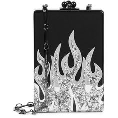 Edie Parker Carol Flames Black Box Clutch ($1,865) ❤ liked on Polyvore featuring bags, handbags, clutches, glitter clutches, chain strap purse, chain handle handbags, clasp handbag and glitter handbag