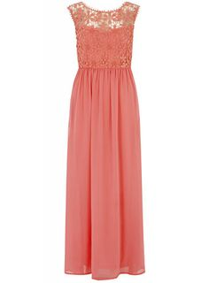 Lola Skye Coral Crochet Maxi Dress  Brides Maids (Something similar to this not sure what colour)