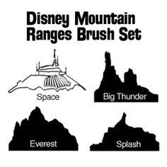 DIY Disney Mountain Range Digital Scrapbooking Brushes