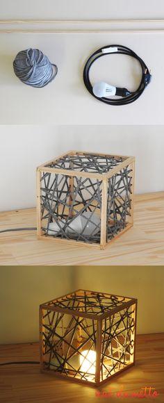 Luminária Cubo Tramada Madeira e Fio de Malha DIY - Nat Dametto