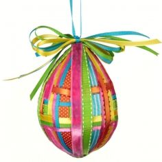 Colored ribbon adds simple pizazz to a plain Easter egg!