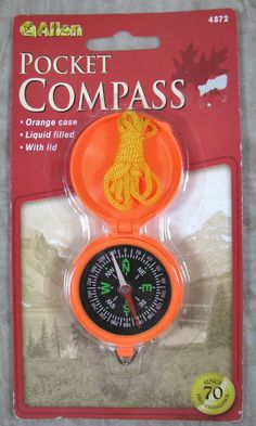Allen Pocket Compass Orange Case NIP #AllenCompany