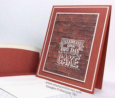 Stamp Sets: Big Day; Papers: Cajun Craze, Whisper White, Adventure Bound Designer Series Paper Stack; Accessories: White Stampin' Emboss Powder, Stampin' Dimensionals
