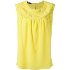 Rochas round neck shift blouse (1,863 CAD) ❤ liked on Polyvore featuring tops, blouses, yellow, round neck top, silk blouse, yellow blouse, yellow silk blouse and round neck blouse