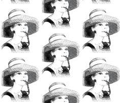 Audrey Hepburn black & white by Mezzime on Spoonflower - custom fabric