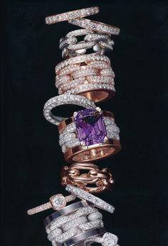 Diamond and Amethyst rings I Love Jewelry, Jewelry Box, Jewelry Accessories, Fine Jewelry, Jewelry Design, Love Ring, John Hardy, Diamond Are A Girls Best Friend, Beautiful Rings
