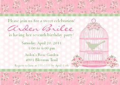 Vintage Bird Cage Custom Printable Invite for by BeeAndDaisy, $12.00