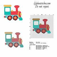 Colored toy train small and free cross stitch pattern 48 x 39 stitches 5 DMC threads