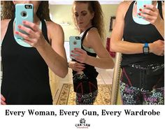 Meet Jackie, our next winner in our Every Woman contest!  Her firearm is a Glock 42, Glock 19, Glock 43 and Glock 30S Her holster is a Can Can Hip Hugger in Hot Pink Her outfit choice is athletic wear. #womensholster #fashion #accessory #workout #yogapants #VS #ovepink #blackandpink #concealedcarry #secondamendment #gunholster #sporty #fierce #selfdefense
