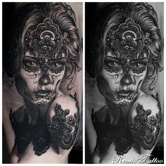 woman portrait tattoo by Remis, black and grey tattoo, remistattoo, realism, realistic tattoo, tattoo ideas, inspiration, sleeve, arm, half sleeve, full sleeve, sugar skull tattoos