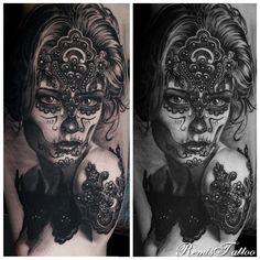 woman portrait tattoo by Remis, black and grey tattoo, remistattoo, realism, realistic tattoo, tattoo ideas, inspiration, sleeve, arm, half sleeve, full sleeve, sugar skull tattoos