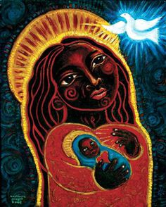 The Black Madonna painting by visionary artist Katherine Skaggs brings hope and illumination, awakening the Great Mother and Inner Christ Child in all. Lady Madonna, Madonna Art, Madonna And Child, Divine Mother, Mother Mary, Mother Goddess, Sacred Feminine, Divine Feminine, Religious Icons