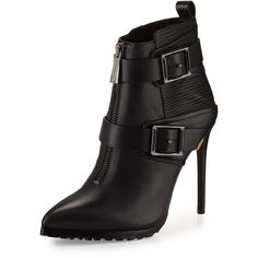 BCBGMAXAZRIA Alec Leather High-Heel Bootie ($130) ❤ liked on Polyvore featuring shoes, boots, ankle booties, ankle boots, black, leather booties, black pointed toe booties, short black boots and black leather ankle booties