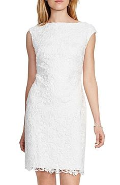 Lauren Ralph Lauren Embroidered Lace Sheath Dress available at #Nordstrom