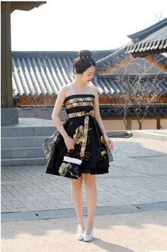 Contemporary hanbok turned into a dress. I bought a hanbok for ten dollars.... Totally doing this to it.