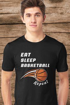 eat sleep basketball repeat funny gift for basketball lovers #basketballshirt #shirts