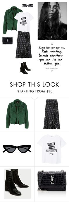 """""""12/03"""" by dorey on Polyvore featuring Ganni, Le Specs, MANGO and Yves Saint Laurent"""