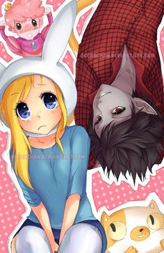 Fionna, Cake, Marshall Lee and Prince Gumball (PG). Fionna looks so sweet! Adventure Time