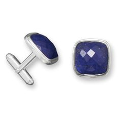 Soft square sterling silver cuff links with faceted lapis. The cuff links are approximately 10mm. .925 Sterling Silver.  Found on www.SamanthasSilver.com,  Online Catalog, Use VENDOR CODE:  AFF9965 at checkout!