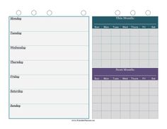 This printable weekly planner has room for daily notes as well as two calendars for scheduling the current and following months. Free to download and print