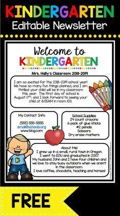 Back to School — Keeping My Kiddo Busy FREE Welcome to Kindergarten newsletter - EDIT and print to send during Back to School season or Open House - adorable Meet the Teacher letter FREEBIE Kindergarten First Week, Kindergarten Newsletter, Welcome To Kindergarten, Welcome To School, Kindergarten Freebies, Classroom Newsletter, Kindergarten Lesson Plans, Teaching Kindergarten, Preschool Classroom
