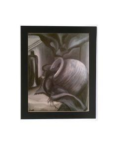 #stilllife #oil #painting #art #etsy #print #giclee #home #decor #blackandwhite #tonal #grey #black #white Still Life Shadows  8x10 Giclee Art Print of Oil by GinsGallery, $15.00
