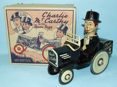 1938 MARX CHARLIE MCCARTHY BENZINE BUGGY TIN WIND UP TOY CAR & BOX