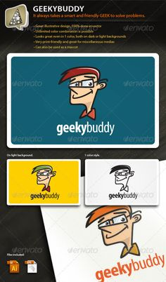 GeekyBuddy Illustrative Mark for Your Tech Biz	 Logo Design Template Vector #logotype Download it here: http://graphicriver.net/item/geekybuddy-illustrative-mark-for-your-tech-biz/576253?s_rank=138?ref=nexion