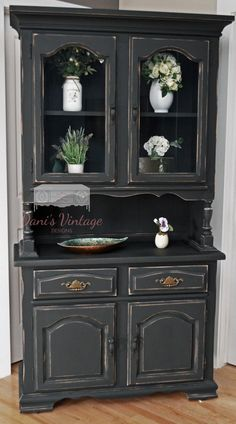 Black distressed China cabinet                                                                                                                                                     More