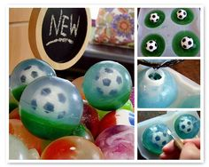 We just brought in another fantastic silicone soap mold and are having SO much fun making round bouncy-ball style soap with melt-and-pour. In this project, I used: 16 ounces of clear soap base 12 ml Lemon Verbena fragrance oil 4 Soccer Ball eraser embed toys Shamrock Green Mica Yellow Mica Liquid Blue Clean Up Tool …