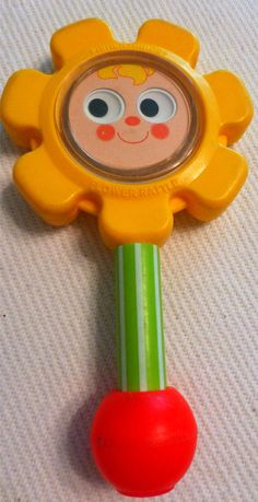 FLOWER Rattle Fisher Price with Mirror 1970's my son had this rattle